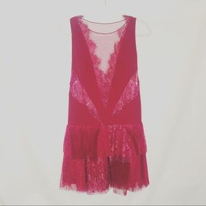 Free People Red Sleeveless Drop Waist Lace Dress